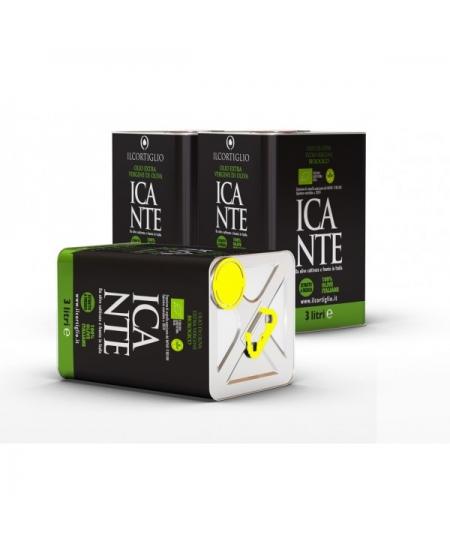 Incante Bio lattina di olio extra vergine di oliva biologico - 3 LT - Il Cortiglio Rocca Normanna